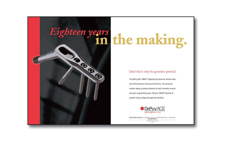 Jeffrey Alec Ad for DePuy Ace 18 years in the making