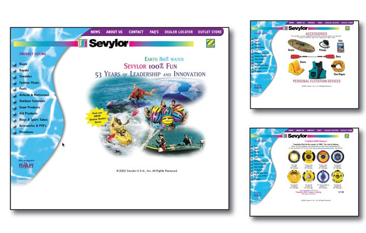 Sevylor Watersports Accessories Website Design and Product Packaging Design