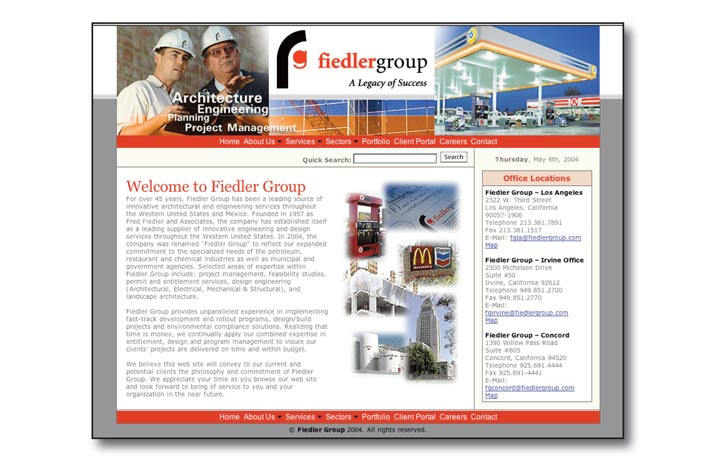 Fiedlergroup Website Design Home Page